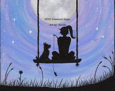 A Girl and her Chihuahua Silhouette under the by FreehandMagic Sillouette Painting, Dog Canvas Painting, Small Canvas Paintings, Dog Paintings, Painting & Drawing, Wolf Painting, Chihuahua, Dog Silhouette, Cat Sitting