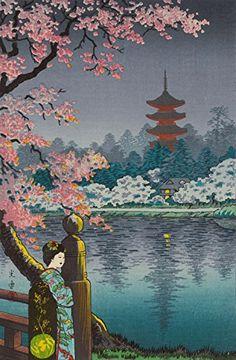 "Japanese Art Print ""Geisha and Cherry Tree, Ueno Park"" by Tsuchiya Koitsu. Shin Hanga and Art Reproductions http://www.amazon.com/dp/B00VCN1SF0/ref=cm_sw_r_pi_dp_QaWvwb0KWN4C4"