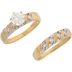T.G.W. CZ 2-Tone Wedding Rings