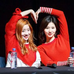 #dahyun #sana  @ 2016  _ _ _ _  #twice #dahyun #sana #heart #kpop #friendshipgoals #makeup #hair #red #smile #미소 #clothes #color #jeongyeon #momo #nayeon #chaeyoung #tzuyu #mina #jihyo #tt #티티 #korea #korean #seoul #photoshoot #photo  #fanmeeting #love #사랑