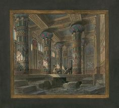 Set design (1880), by Philippe Chaperon (1823-1906), for Act 4, Scene 2, of Aida…