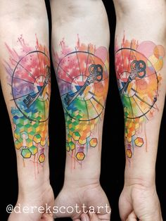 Watercolor color wheel and key abstract tattoo