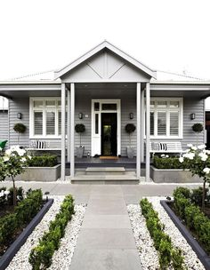 Ideas For Exterior House Curb Appeal Planters Exterior Paint Colors For House, Paint Colors For Home, Exterior Colors, Exterior Design, Architecture Renovation, Facade Architecture, Weatherboard House, Queenslander, Hamptons Style Homes