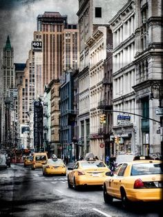 Photographic Print: Instants of NY Series - NYC Yellow Taxis / Cabs on Broadway Avenue in Manhattan - New York City by Philippe Hugonnard : 24x18in