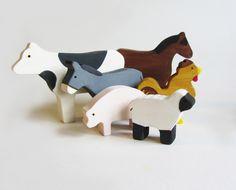 Wooden Farm Animals Waldorf Eco Friendly Toy Set Heirloom by Imaginationkids on Etsy https://www.etsy.com/listing/95179063/wooden-farm-animals-waldorf-eco-friendly
