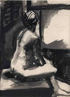 Elmer Bischoff, Woman Looking Through Window, circa 1960. Ink on paper, 12 x 9 in