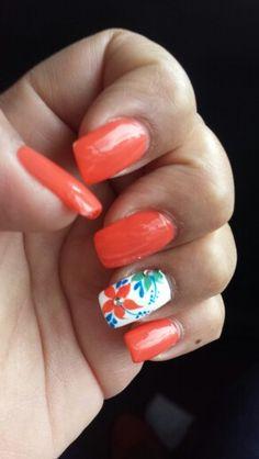 Springtime nails! #OPI #coral #mint #blue  #mynails #CrystalNails
