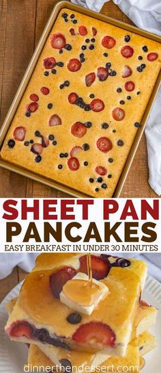 Sheet Pan Pancakes with mixed berries and homemade pancake batter let you make pancakes for a crowd without standing over the oven breakfast brunch pancakes holidays christmas mothersday valentinesday easter dinnerthendessert # Homemade Pancakes, Pancakes Easy, Baked Pancakes, Keto Pancakes, Waffles, Homemade Pancake Recipes, Pancakes With Fruit, Pancakes In The Oven, Krusteaz Pancake Mix Recipes