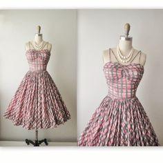 50s Summer Dress // Vintage 1950's Abstract Pink Cotton Garden Party Summer Dress XS