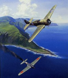 """""""Hawk of Haleiwa, Dec 7, 1941"""" by Jack Fellows -- 2nd Lt. Harry Brown, flying an obsolete and completely outclassed Curtiss P-36, shoots down his first of two """"Kate's"""" over Oahu."""