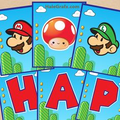 FREE printable Super Mario birthday banner to add to your Super Mario party theme. Super Mario Bros, Super Mario Party, Mario Birthday Banner, Super Mario Birthday, Happy Birthday Banners, Free Printable Birthday Banner, Nintendo Party, Wii Party, Mario Und Luigi