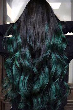 Green Hair Colors, Hair Dye Colors, Hair Color For Black Hair, Cool Hair Color, Dark Green Hair Dye, Purple And Green Hair, White Hair, Hair Color Streaks, Hair Highlights