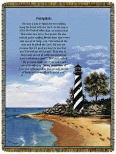 . Footprints Poem, Do Men, Lighthouse, Paths, Life Quotes, Scene, Tapestry, Gallery, Beach