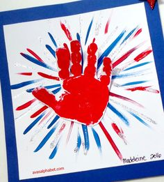 C is for Crafts: Handprint Fireworks Gather up the kids for this simple patriotic handprint art project. Makes a great of July craft! 4th July Crafts, Fourth Of July Crafts For Kids, Patriotic Crafts, Summer Crafts For Toddlers, Summer Camp Crafts, Camping Crafts, Fireworks Craft For Kids, Fireworks Art, Daycare Crafts