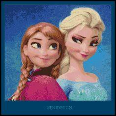 Cross stitch pattern - Elsa and Anna - Frozen  - Instant Download!