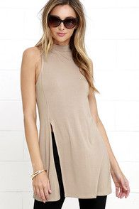 Your high-waisted jeans are going to love the On Repeat Taupe Tunic Top! Lightweight jersey knit starts at a mock neck, and falls to a sleeveless bodice with flaring silhouette, and waist-high side slit. #CuteDresses #TrendyTops, #FashionShoes #JuniorsClothing