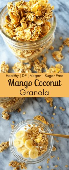 Mango coconut granola is like a ray of sunshine to your morning routine. This easy, homemade granola takes you to the tropics with freeze dried mangoes, coconut chips, oatmeal and quinoa. Mango Recipes, Coconut Recipes, Healthy Breakfast Recipes, Healthy Desserts, Vegan Recipes, Healthy Food, Vegan Granola, Granola Oats, Dried Mangoes