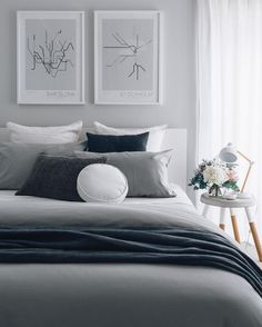 Neutral Gray Bedroom Decorating Ideas For Modern Home Home Bedroom, Modern Bedroom, Master Bedroom, Bedroom Decor, Bedroom Ideas, Bedroom Lighting, Gallery Wall Bedroom, Guest Bedrooms, Guest Room