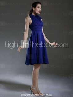 A-line High Neck Knee-length Chiffon Bridesmaid/ Wedding Party Dress - USD $ 89.99