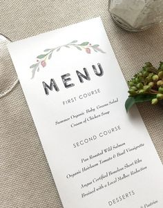Wedding Menu Cards  Rustic Wedding Menu Card  by SideStreetDesigns