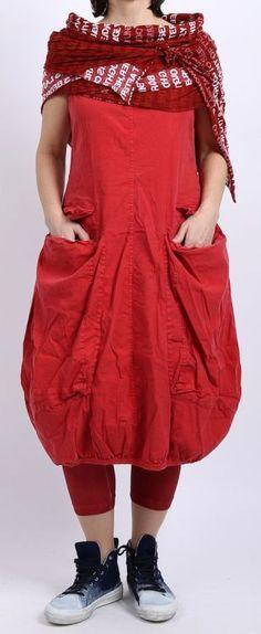 rundholz black label - Ballonkleid Leinen Stretch mit Riesentaschen strawberry - Sommer 2016 - stilecht - mode für frauen mit format...
