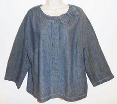 Talbots Woman Chambray Top 18W 2X Linen Blend Blue Blouse Boxy Shirt Plus Size #Talbots #Chambray #PlusSize #Talbots24W #TalbotsWoman