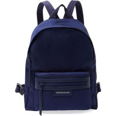 Longchamp Women's Le Pliage NÃo Small Nylon Backpack - Blue (€245) ❤ liked on Polyvore featuring bags, backpacks, blue, day pack backpack, zip top bag, nylon rucksack, blue backpack and longchamp rucksack