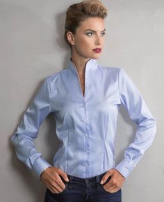 Camicia donna bianca con collo a imbuto AND tg.42 http://and-camicie-store.com/collezione-donna-and-camicie/94-camicia-elegante-con-collo-francese.html