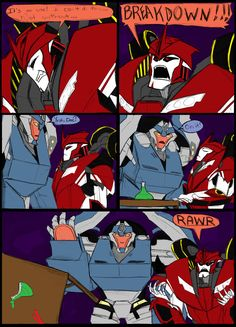 TFP- A Matter of great importance by chibigingi.deviantart.com on @deviantART. Of course KO needs help when throwing a tantrum! That's what Breakdown is there for!