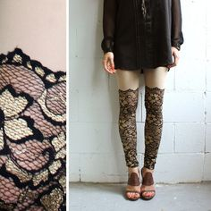 Psych Out Faux Thigh High Leggings - Black & Gold Lace