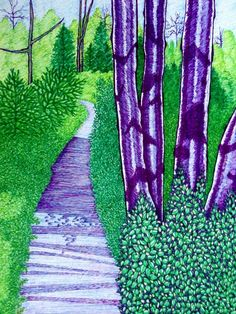Drawing by Suzanne Berton (Canada) Conceptual Art, Ottawa, Watercolor Paper, Conservation, Markers, Paths, Original Art, Art Gallery, Canada