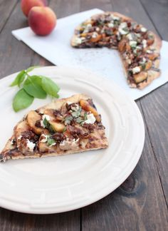 Balsamic Peach and Goat Cheese Grilled Flatbread Recipe
