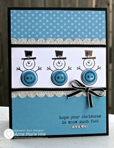 Stampin' Up! Christmas   by Anne Marie Hile at Stampin' Anne: Button Buddies Snowmen