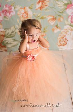 Sweet Peach Flower Girl Tutu Dress Flower girl by cookieandbird