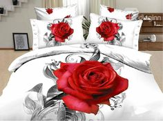 New Arrival Active Printing Red Rose Painting 4 Piece Bedding Sets - Bedding Set - Ideas of Bedding Set - New Arrival Active Printing Red Rose Painting 4 Piece Bedding Sets/Comforter Set 3d Bedding Sets, Red Bedding, Bedding Sets Online, Luxury Bedding, Rose Comforter, Queen Comforter Sets, Bedroom Red, Bedroom Decor, Bedroom Ideas