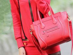 Leather tote bag Red handle bags Women leather by JoyandSurprise, $79.00