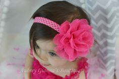 Baby headband, Valentines Day headband, Pink newborn headband, infant headband, baby hair bow, Baby Girl Accessories, Pink flower on Etsy, $6.99