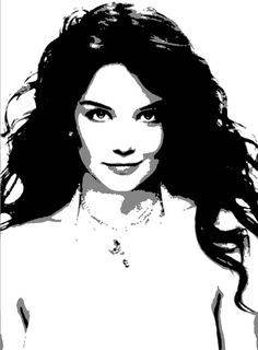 Katie Holmes - Stencil For Canvas - BW