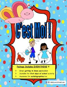 Cest Moi-All About Me Activity in FRENCH!  Great First Days of School Activity! from Kids Love School on TeachersNotebook.com -  (9 pages)  - C'est Moi is a great way to get to know your students.  It includes EVERYTHING to get your students to come out of their shell and talk about themselves.  And best of all--it is in FRENCH!  Students have the opportunity to discuss their interests bot