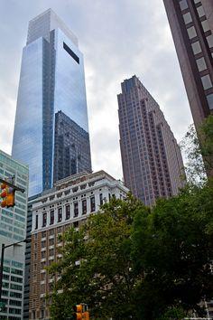 A closer shot of Comcast Center and Three Logan Square.
