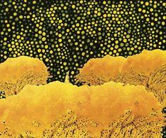 Yayoi Kusama , Kusama in Flower Garden , 61 x 73 cm .   Acrylic on canvas, collage 1996