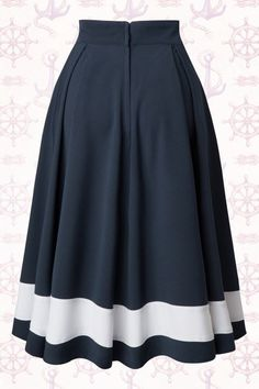 Petra Sailor Swing Skirt in Navy : Miss Candyfloss Sailor Navy Blue Swing Skirt 122 31 14878 20150410 Trendy Dresses, Blue Dresses, Vintage Dresses, Casual Dresses, Vintage Outfits, Fashion Dresses, Summer Dresses, Formal Dresses, Summer Outfits