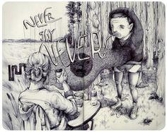 Ilustrações em moleskine de Pat Perry