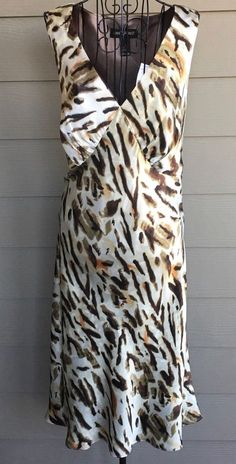 NWT Lane Bryant 100% Silk Animal Print Dress Midi Sleeveless Plus Size 16 #LaneBryant #Dress