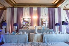 Royal Ambassador wedding reception decor with lavender, cream and silver colour palette Silver Color Palette, Toronto Wedding, Wedding Reception Decorations, Boston, Lavender, Wedding Planning, Chandelier, Wedding Photography, Ceiling Lights