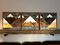 Beautiful Large Custom Set of 3 Dark Stained Mountains with a Blue Lake