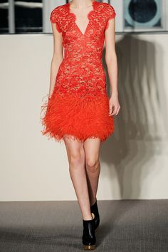 For new year's trimming, beading, sequins, feathers; whatever gives you that extra zest. Show some skin with a plunging décolletage or a micromini (choose one or the other, both can look a bit tarty).    Matthew Williamson Feather-trimmed embellished lace dress