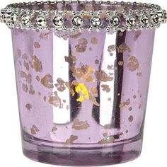 Light Purple Mercury Glass Candle Holder (with rhinestones) Great place for candle holders
