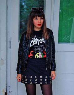 Stussy tee, black bomber jacket and eyelet skirt: http://jointyicroissanty.blogspot.com/2017/10/fall-essentials.html