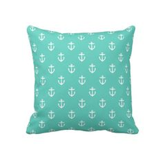 Aqua Cute Anchor Pattern Throw Pillow